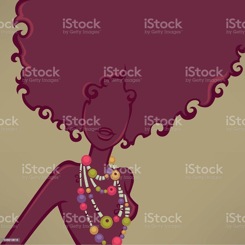 african girl, vector background witn female silhouette vector art illustration