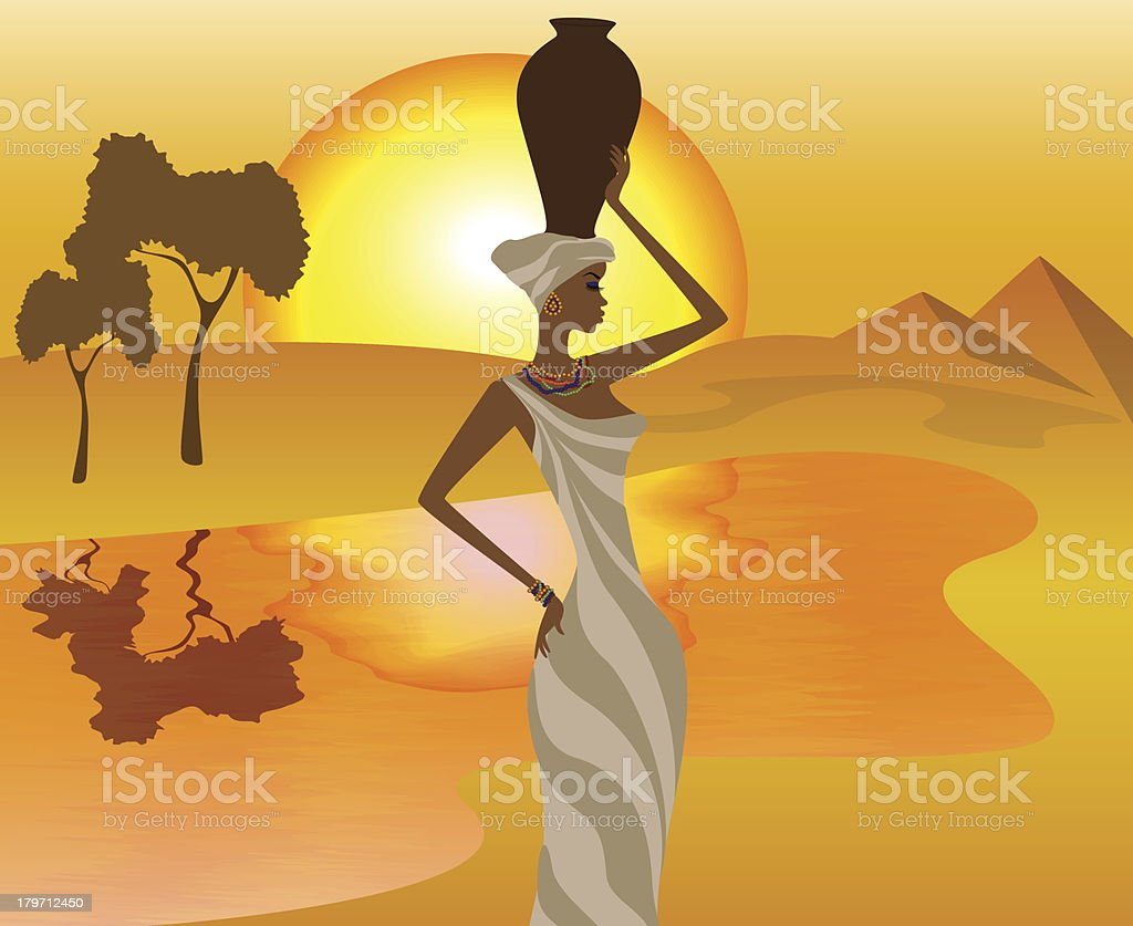 African girl with a pitcher goes to fetch water royalty-free african girl with a pitcher goes to fetch water stock vector art & more images of adult