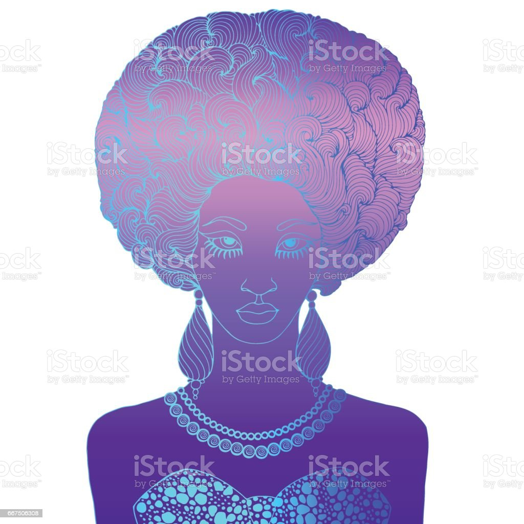 African girl with magnificent curly afro hairstyle - illustrazione arte vettoriale