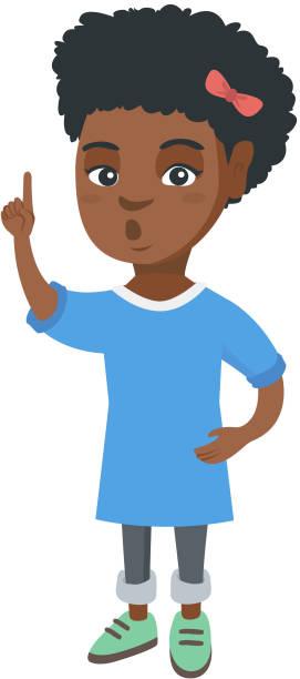 illustrazioni stock, clip art, cartoni animati e icone di tendenza di african girl with open mouth pointing finger up - smile woman open mouth