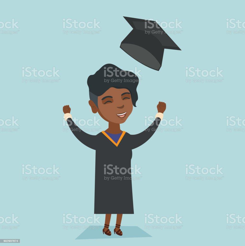 Afrikanische Absolvent Abitur Hut Werfen Stock Vektor Art Und Mehr