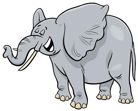 African Gray Elephant Animal Cartoon Character Stock ...