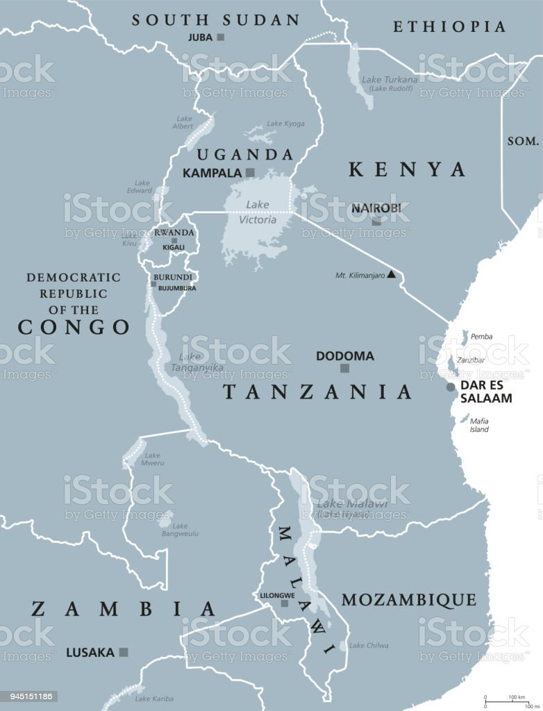 African Great Lakes Gray Map Stock Vector Art & More Images of ...