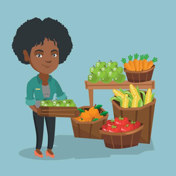 afrikanische gemüsehändler holding box mit äpfeln - rechtsassistent stock-grafiken, -clipart, -cartoons und -symbole