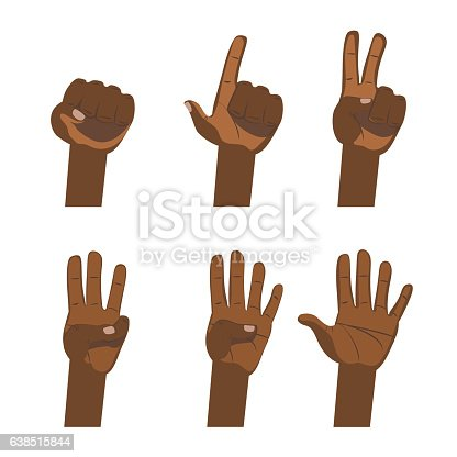 466657402 istock photo African hand count. Flat finger and number white background isolated. 638515844
