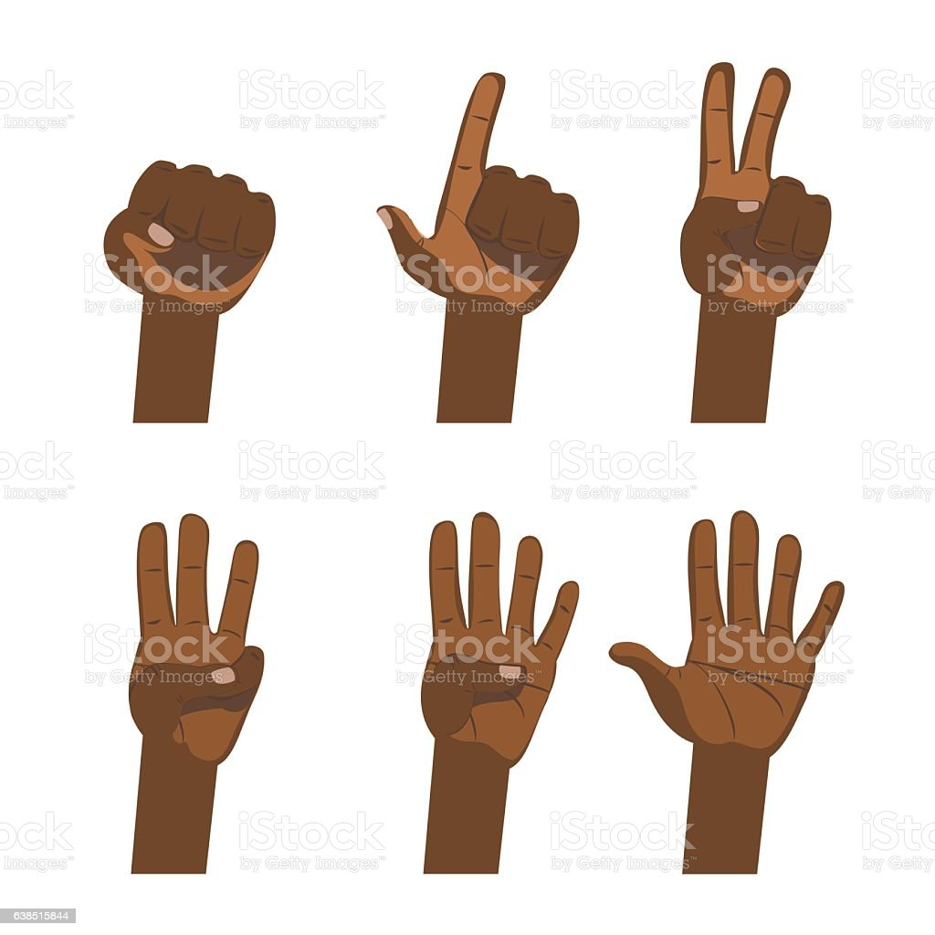 African hand count. Flat finger and number white background isolated. vector art illustration