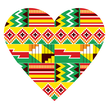 African heart vector design - tribal Kente nwentoma style pattern inspired by Ghana traditional textiles and fabric prints