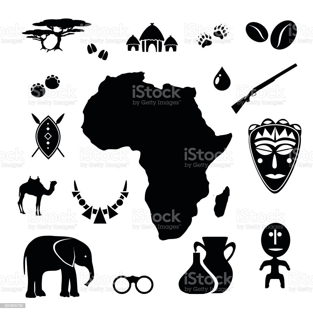African icon set vector illustration vector art illustration