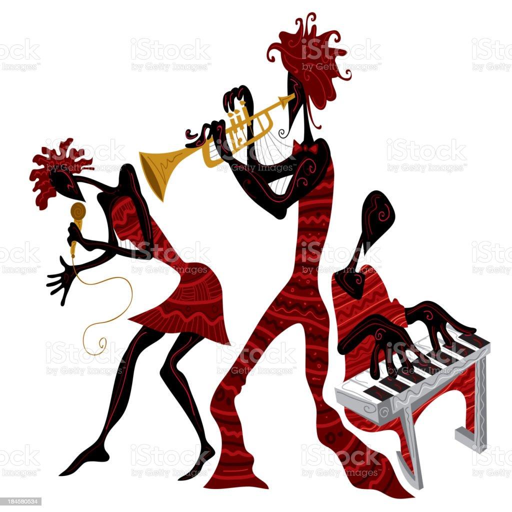 African Jazz Band vector art illustration