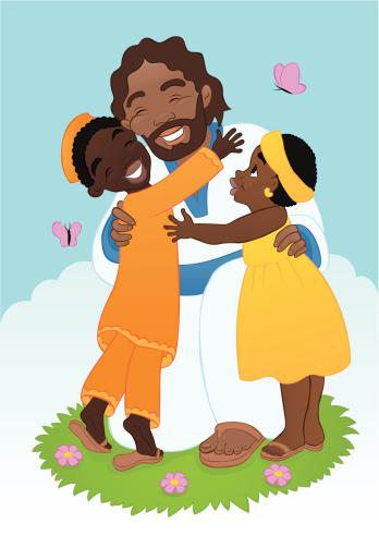 African Jesus With Children Stock Illustration - Download ...