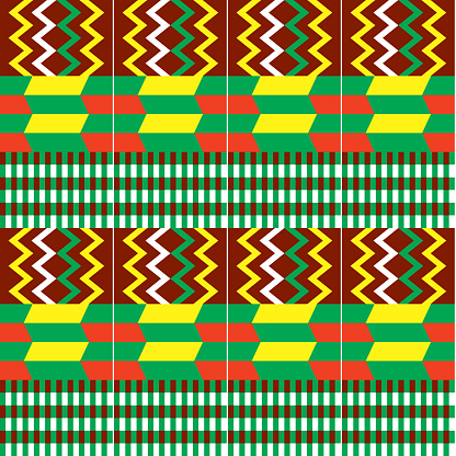 African Kente cloth style vector seamless textile pattern, tribal nwentoma design with geometric shapes
