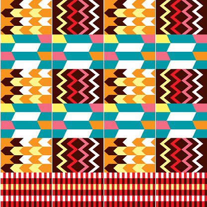 African Kente cloth style vector seamless textile pattern, tribal nwentoma design with geometric motif