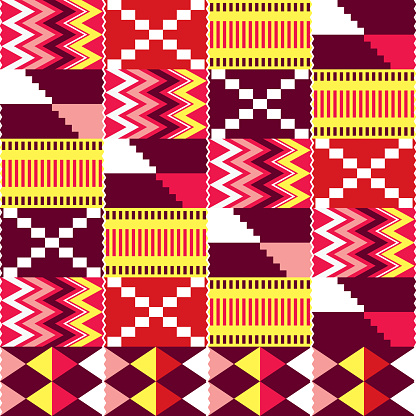 African Kente nwentoma cloth style vector seamless pattern, red, brown and pink design with zig-zag and geometric shapes inspired by Ghana tribal fabrics or textiles