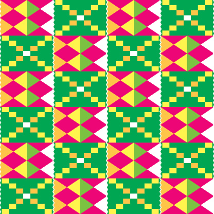 African Kente tribal geometric seamless pattern, traditional nwentoma cloth style vector textile design in pink and green