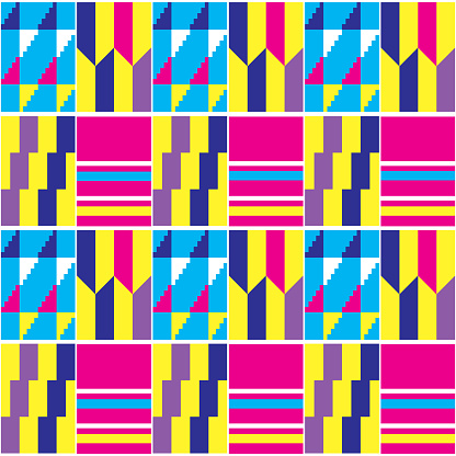 African Kente vector seamless textile or fabric print tribal pattern, traditional nwentoma cloth style design with geometric motif