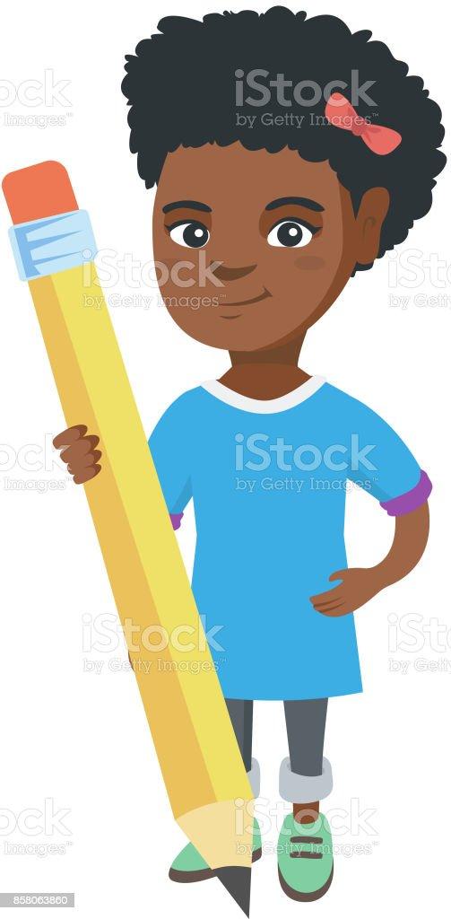 00d9eb9d14fa Afrikanische Kind Mädchen Steht Mit Einem Riesigen Bleistift Stock ...