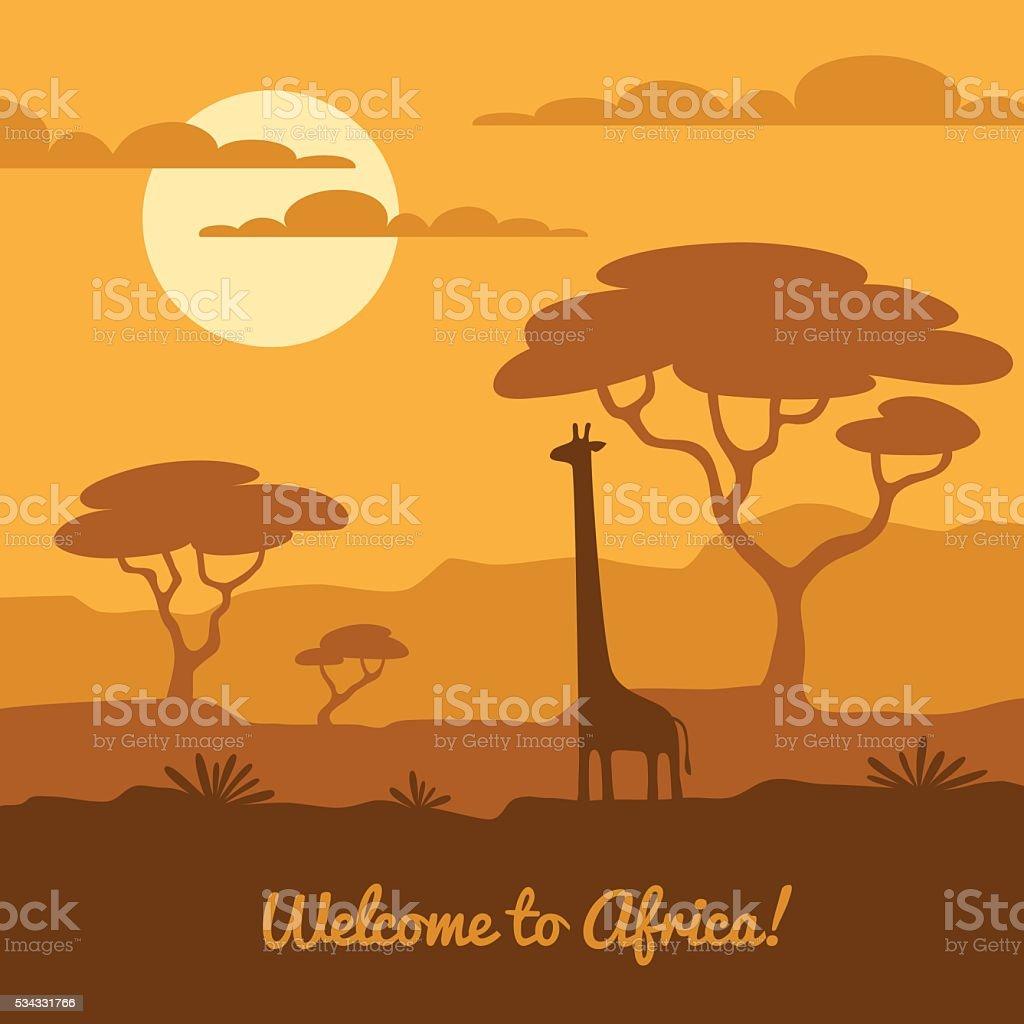Paesaggio africano illustrazione - illustrazione arte vettoriale