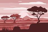 African landscape, savannah, sunset vector illustration cartoon style