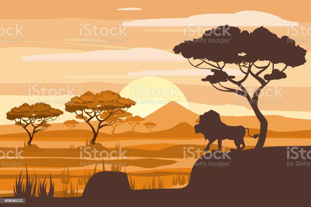 African landscape, lion, savannah, sunset, vector, illustration, cartoon style, isolated - illustrazione arte vettoriale