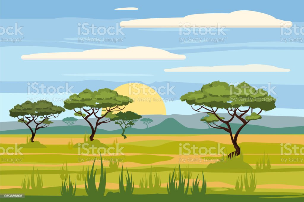 African landscape, savannah, sunset, vector, illustration, cartoon style, isolated royalty-free african landscape savannah sunset vector illustration cartoon style isolated stock illustration - download image now