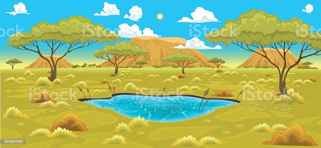 African landscape vector art illustration