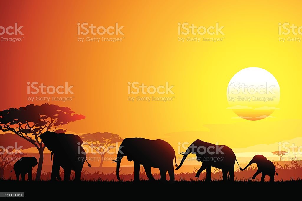 African landscape with funny Elephants silhouettes in hot day vector art illustration