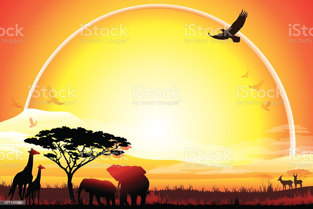 African landscape with Giraffes and Elephants silhouettes in hot day vector art illustration