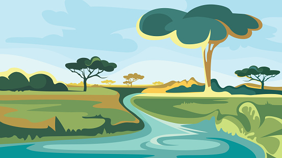 African landscape with river and trees.