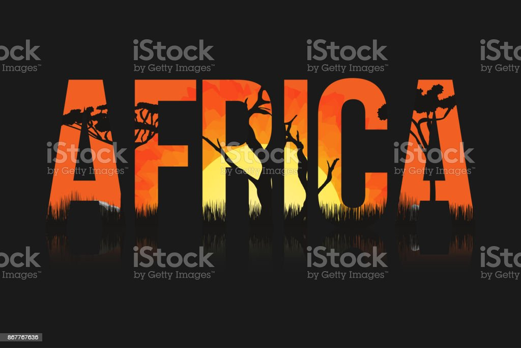 African landscape with trees and sun. Lettering Africa with savanna, prairies, sunset inside - illustrazione arte vettoriale