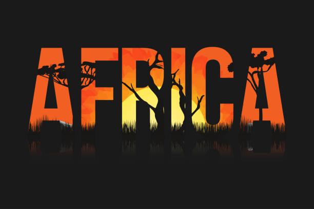 Paisagem africana, com árvores e sol. Rotulação de África com savanas, pradarias, pôr do sol no interior - ilustração de arte em vetor