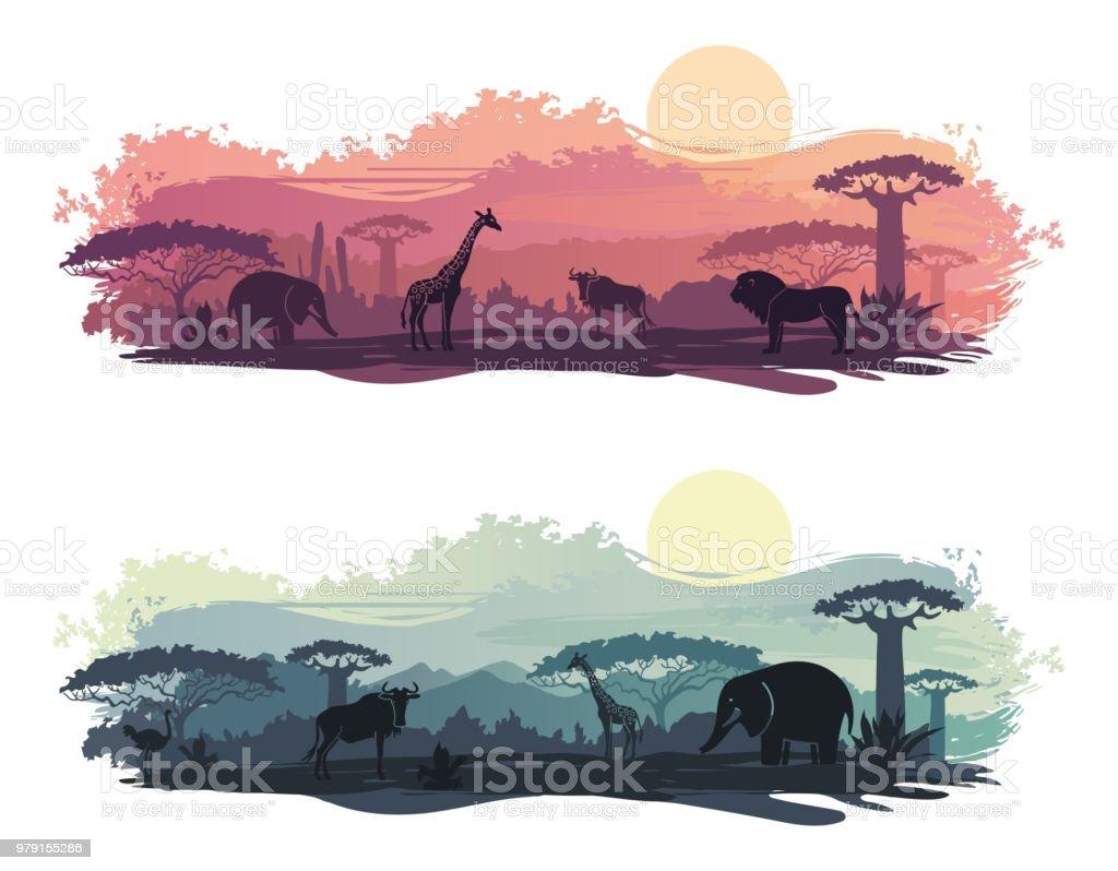 野生動物とアフリカの風景 ベクターアートイラスト