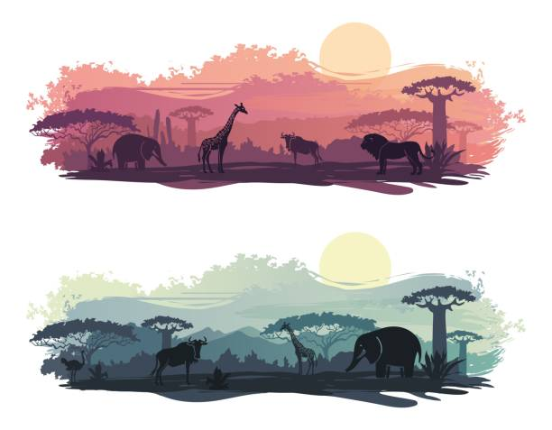 野生動物とアフリカの風景 - 野生動物旅行点のイラスト素材/クリップアート素材/マンガ素材/アイコン素材