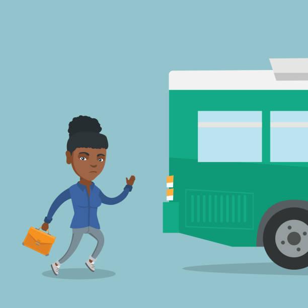 ilustrações de stock, clip art, desenhos animados e ícones de african latecomer woman running for the bus - young woman running city