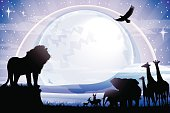 African Lion, Elephants, Giraffes  and Antelopes silhouettes safari against mt Kilimanjaro at night with full moon. The Size of illustration is 200x300 mm or 2 to 3 proportionally. Eps 10. Horizontal orientation. This file contains transparency effects, gradient fills.