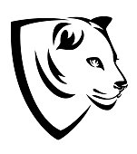 beautiful lioness head in simple heraldic shield - black and white vector design for african wildlife concept coat of arms