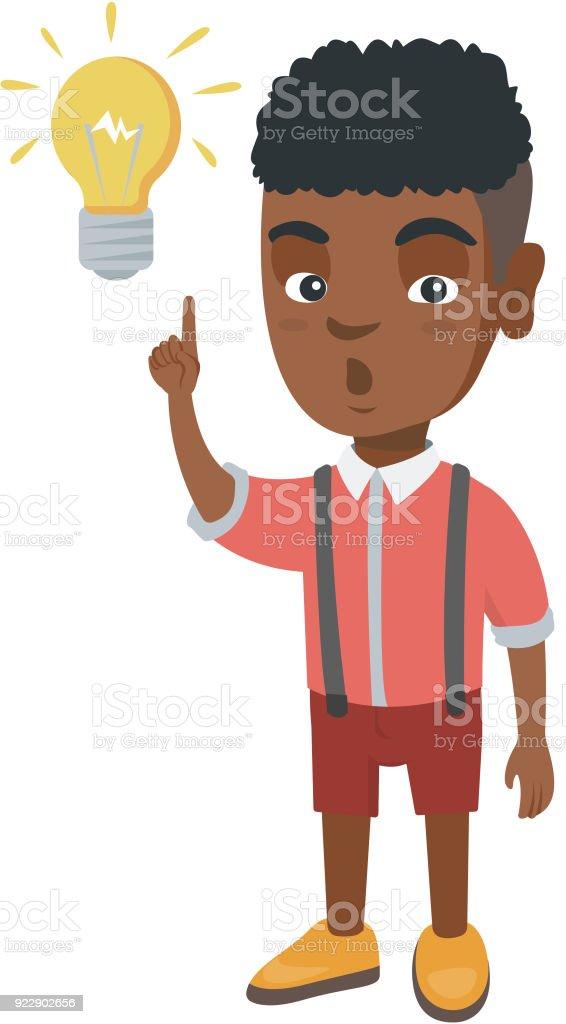 African little boy pointing at the lightbulb vector art illustration