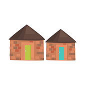 African Local Houses Realistic Simplified Drawing