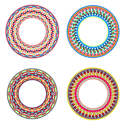 African Maasai beads necklace design vector illustrations
