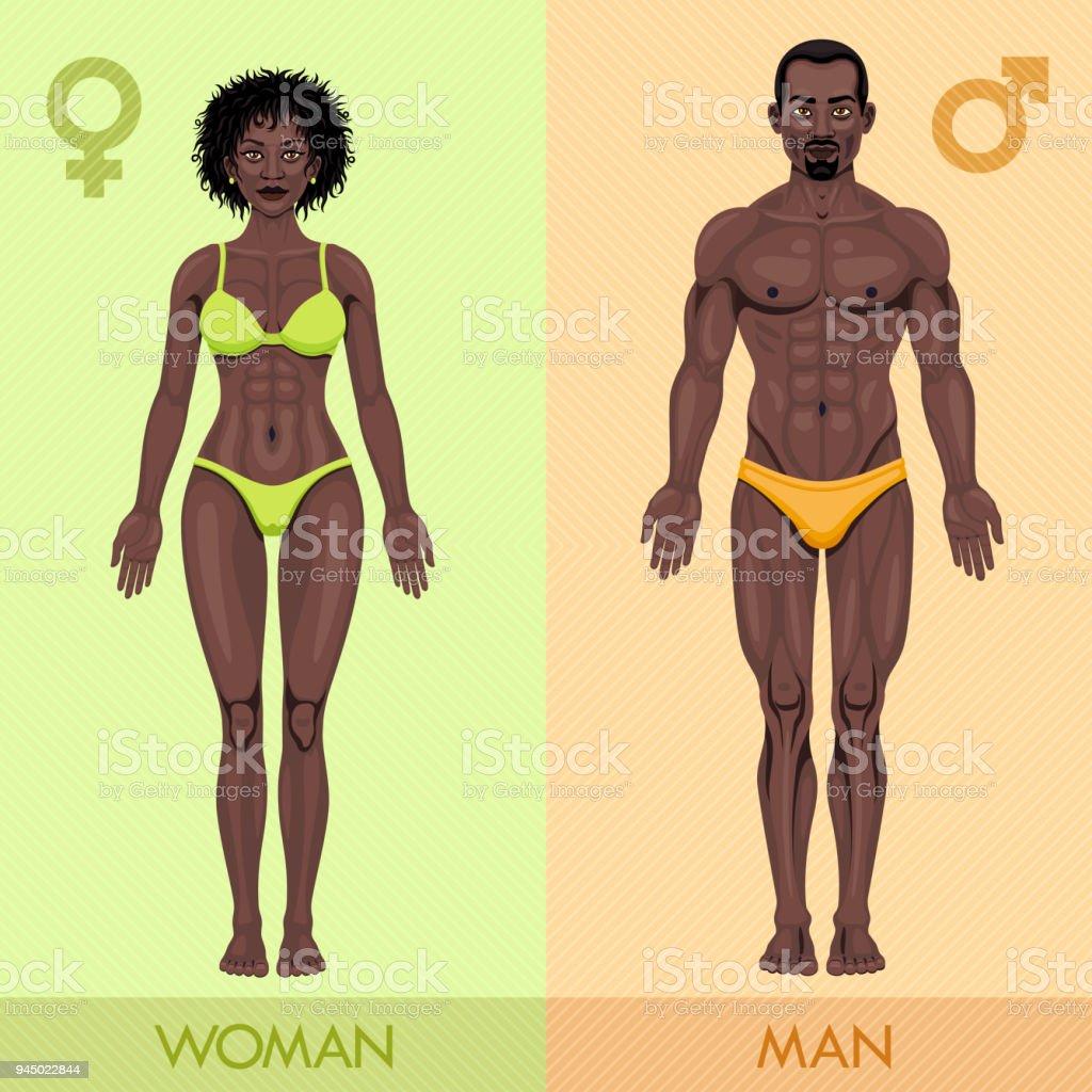 アフリカ男と女 - 2人のベクター...