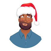 African man in a Santa Claus hat. Portrait of African american man. African american man face expression. vector illustrations.