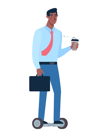 African man rides a modern segway. Eco-friendly alternative transport. The guy goes to work in the office, drinks coffee on the way. Vector illustration of a black man on a white background in a flat