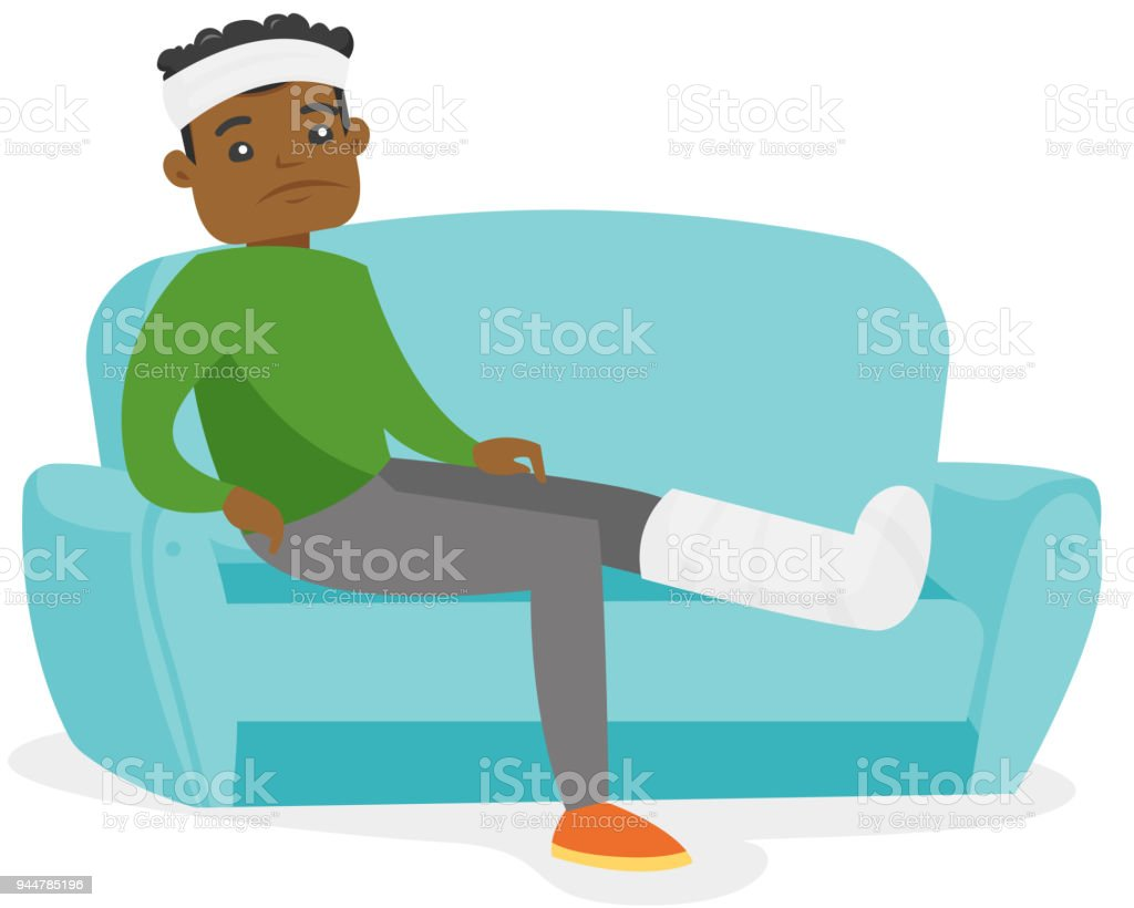 African man with broken leg sitting on the couch vector art illustration