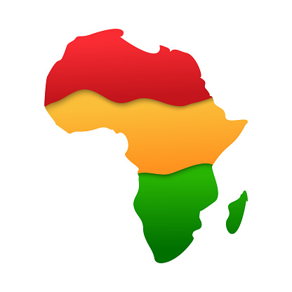 African map continent silhouette icon in paper cut style with african colours - red, yellow, green isolated on white background. Black History Month symbol, vector 3d illustration