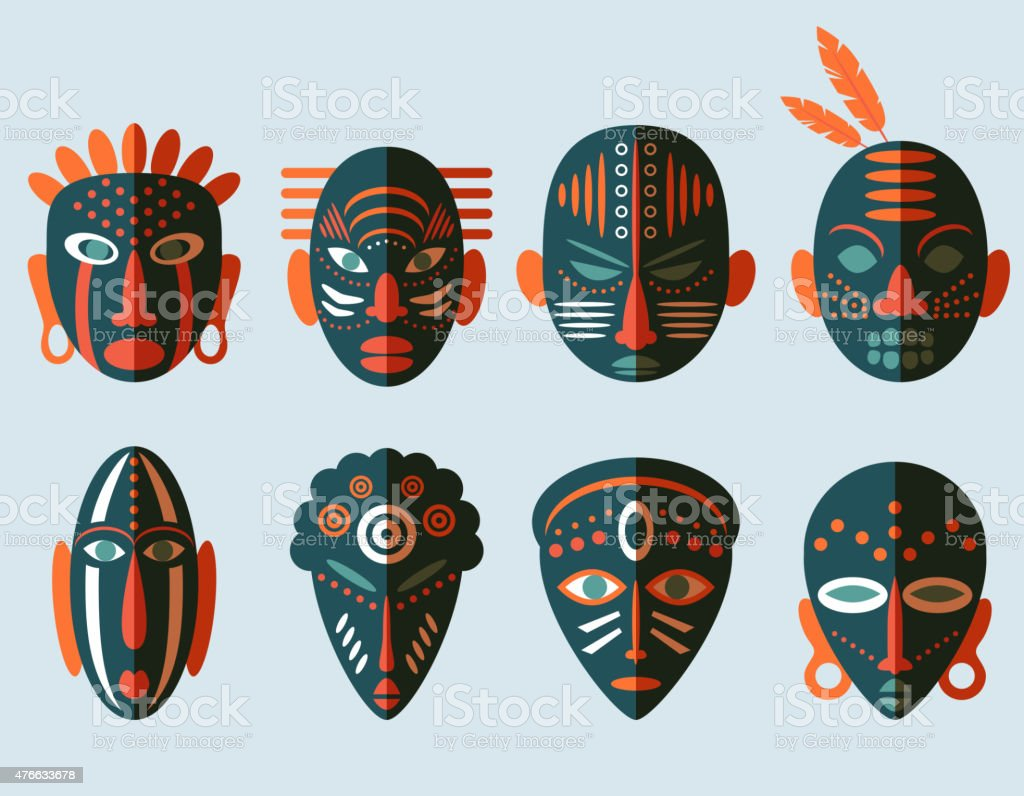 African Mask Icons vector art illustration