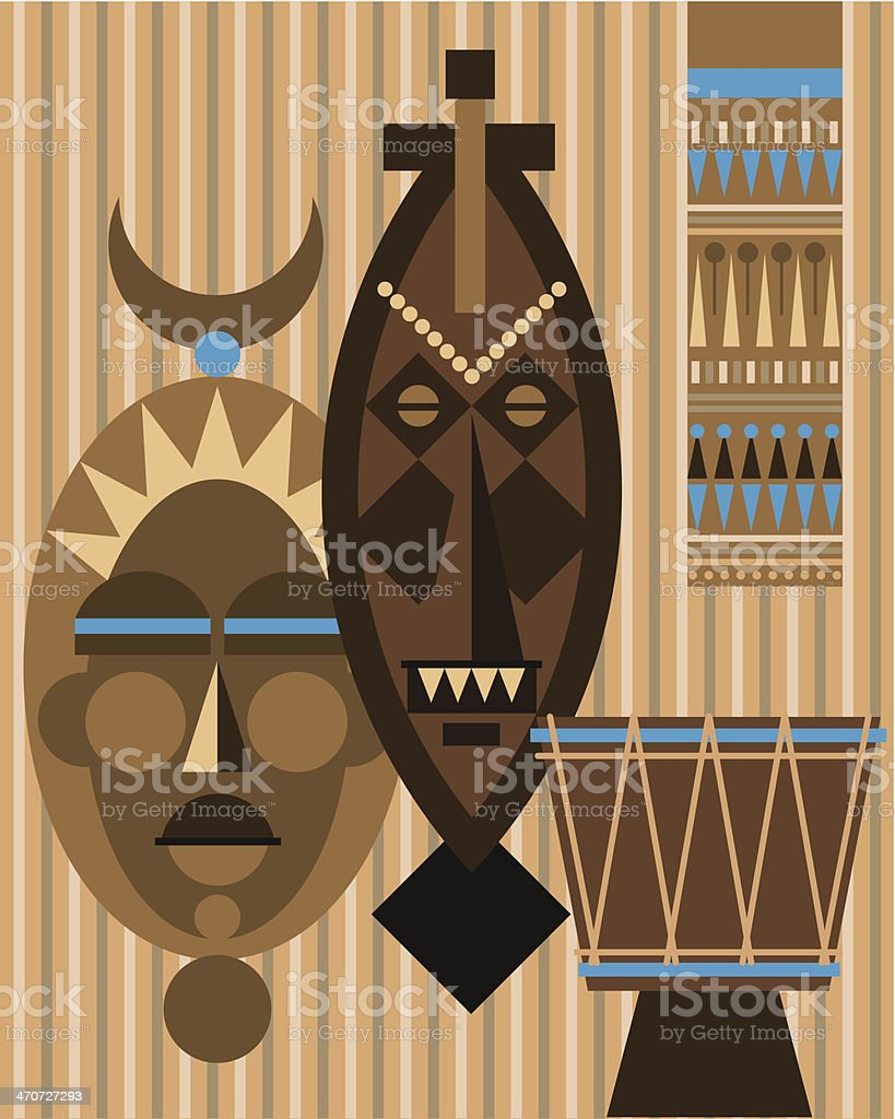 African Masks C vector art illustration
