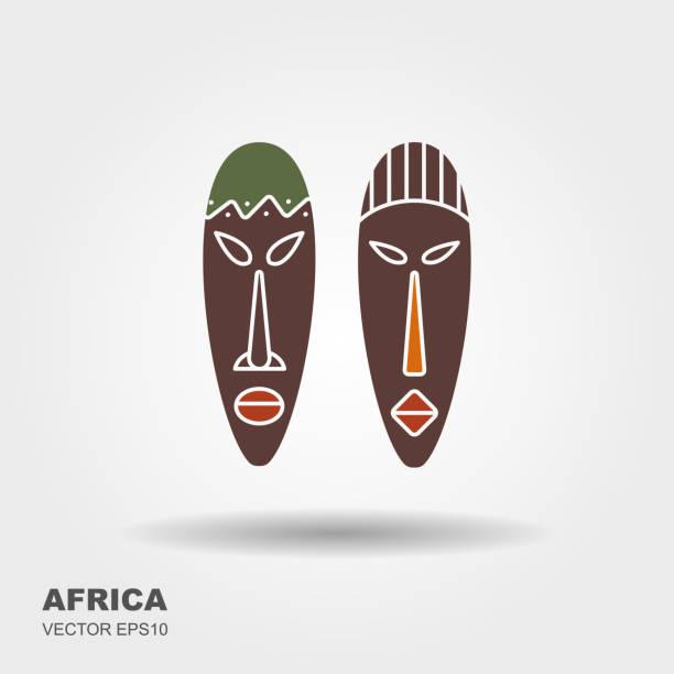 afrikanische masken, isolated on white. vektor-icons für tribals - kultfilme stock-grafiken, -clipart, -cartoons und -symbole