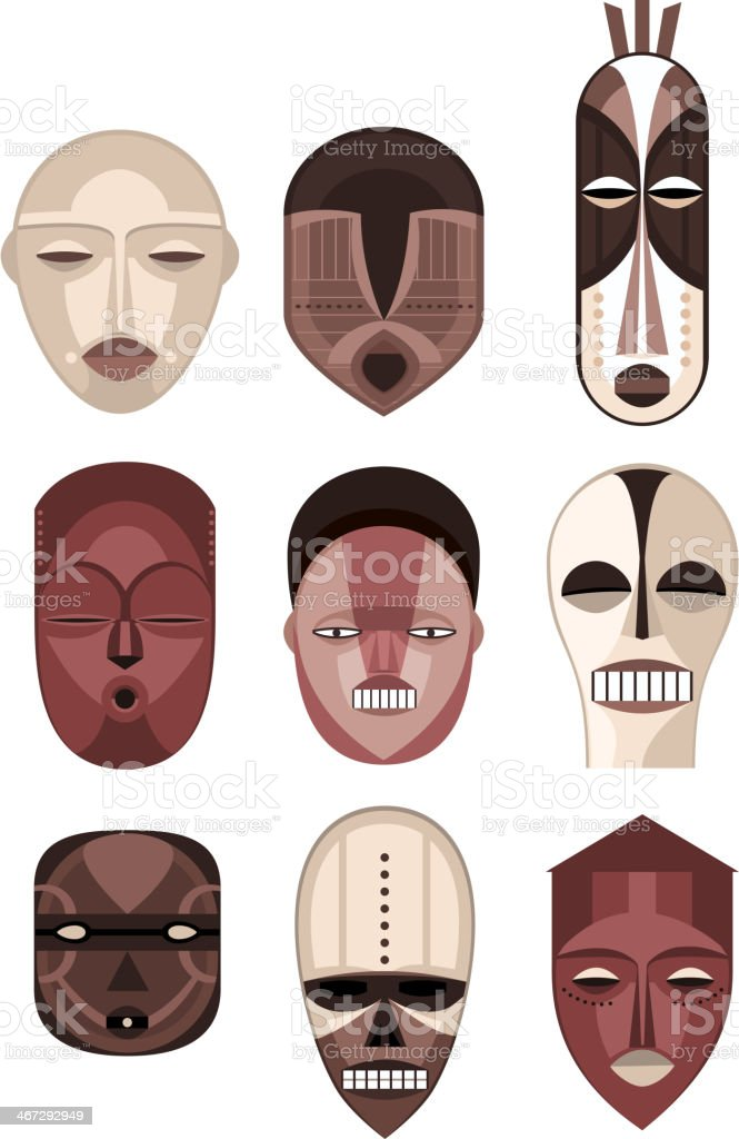 African Masks Traditional Ceremony Ritual Africa Mask vector art illustration