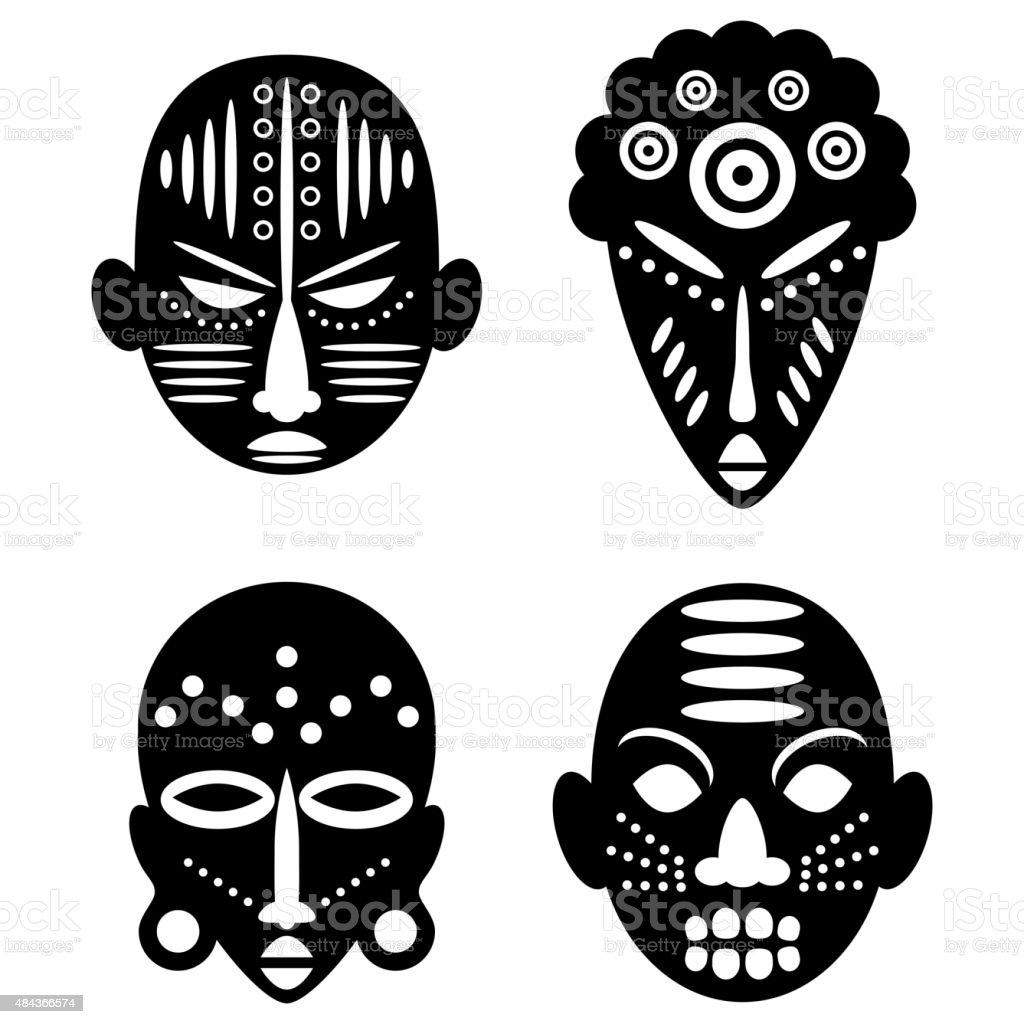 African Masks tribal design vector art illustration