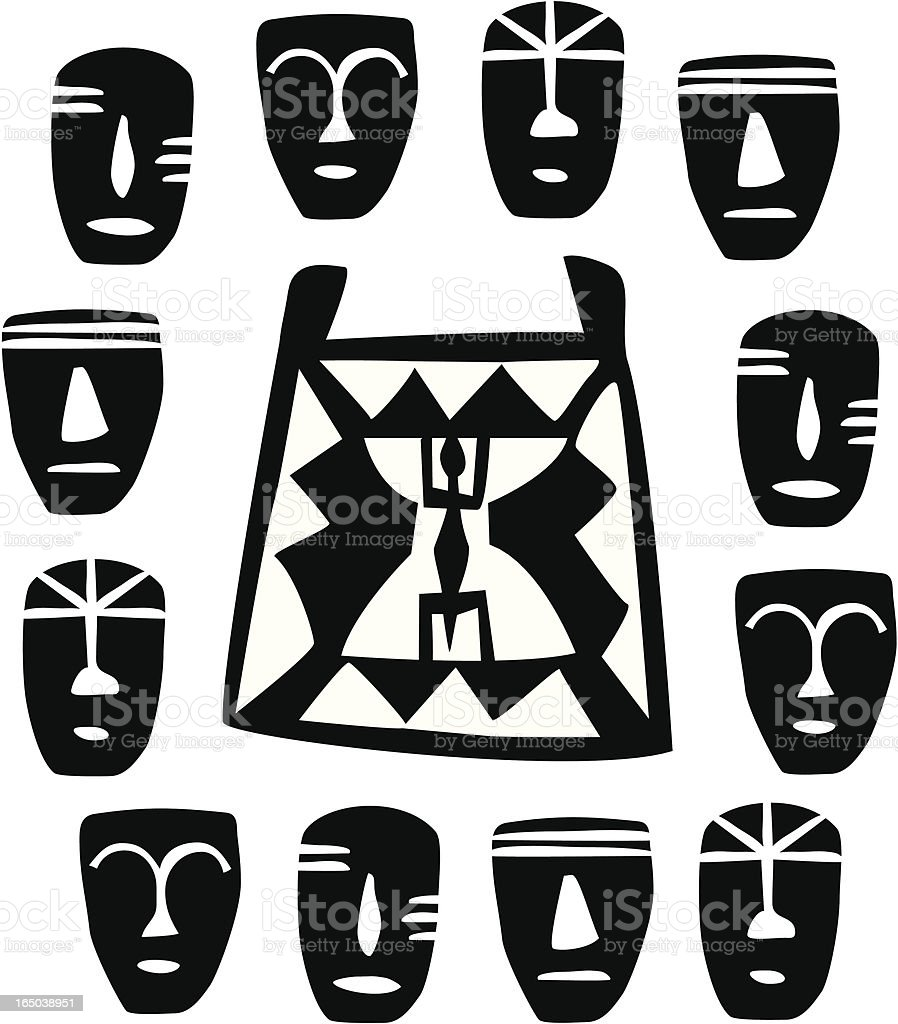 African masks (vector) vector art illustration