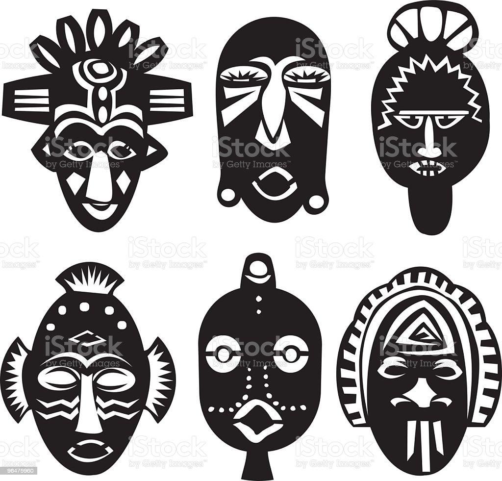 African Masks vector art illustration
